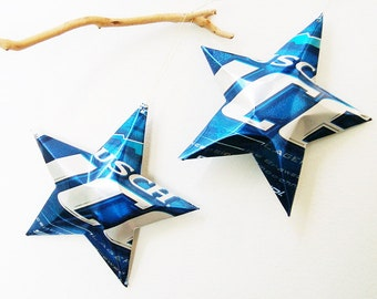 Busch Ice Beer Stars Christmas Ornaments Aluminum Can Upcycled