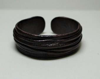 Dark Brown Genuine Leather Cuff Bracelet
