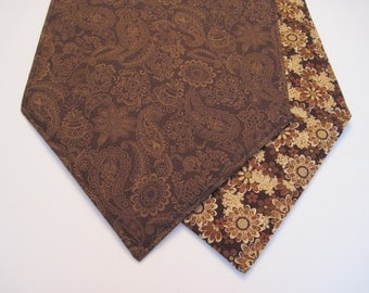 "Dark Brown Table Runner  54""-72"" Reversible Brown Paisley Table Runner Brown Floral Spirograph Table Runner Dark Brown Table Runner"