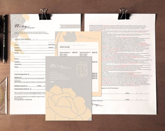 Floral wedding photography contract form and pricing guide- Instant download