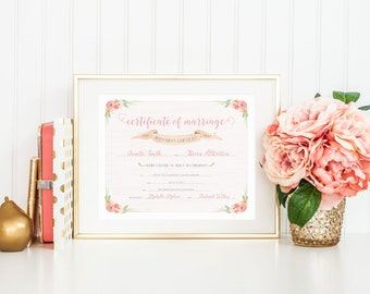 Floral Watercolor 8x10 Printable Marriage Certificate - Customizable