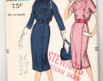 Vintage 1958 Vogue 9635 Sewing Pattern Misses' One-Piece Dress Size 14 Bust 34