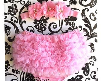 Pink Baby Bloomer and Headband Set. Chiffon Ruffle Bloomer. Baby Girl Headband, Ruffle Bloomer. Bloomers. Newborn Bloomers. Ready to ship