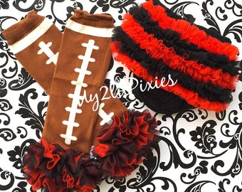 Inspired by Georgia Bulldogs -black and Red Chiffon ruffle bum baby bloomer and football Legwarmers college football Photo Prop-MY2LILPIXIES