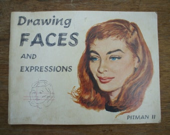 Vintage 1958 Drawing Faces and Expressions VICTOR PERARD Pitman II Illustrated Paperback Book