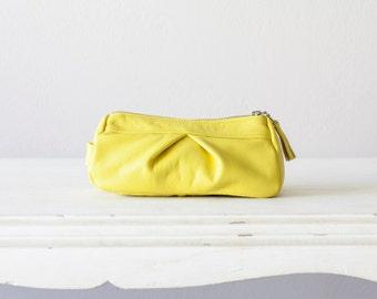 Leather accessory bag yellow,makeup case,cosmetic bag,vanity storage,pencil case,utility storage,toiletry bag - Estia Bag