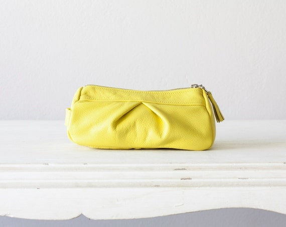 Leather accessory bag yellow,makeup case,cosmetic bag,vanity storage,pencil case,utility storage,toiletry bag - Estia Bag