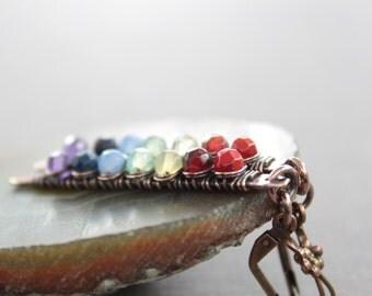 Modern simple long stick dangle copper earrings with rainbow stones - Long earrings - Bar earrings - Multicolor earrings - Rainbow earrings