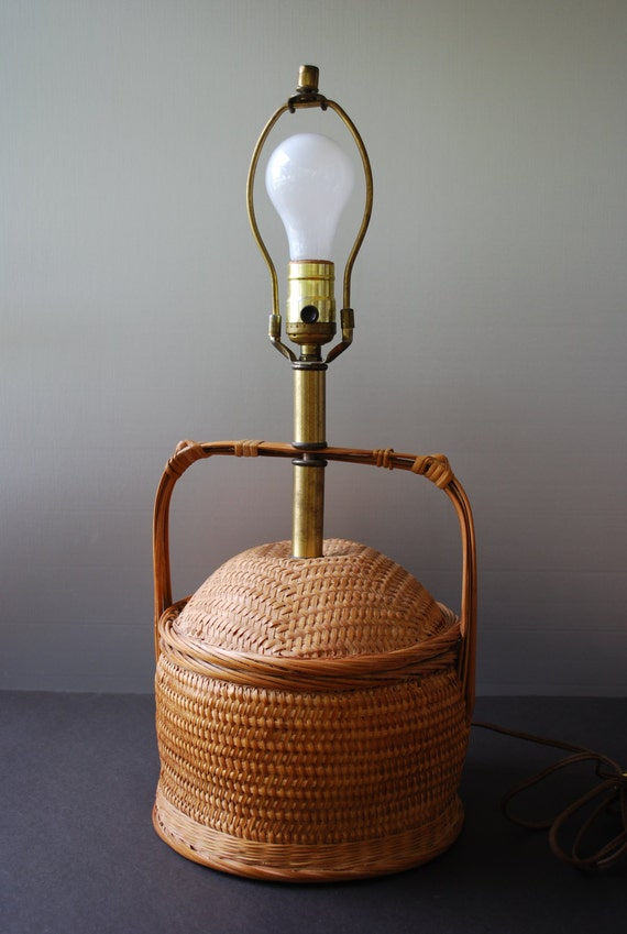 Woven Basket Lamp : Vntage wicker table lamp sewing basket by retrovintagious