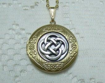 Celtic Knot  Antiqued Gold Locket -  Irish Jewelry - Scottish - Celtic jewelry - Renaissance - Love Knot - Nautical Knot - Ireland, Scotland