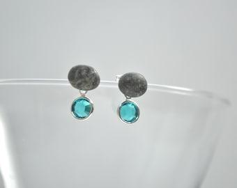 Beach Stone Pebble Earrings - Sterling Silver and Swarovski Blue Zircon Drops