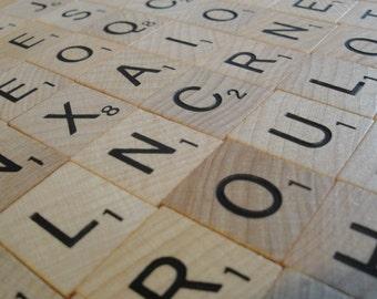 Vintage Scrabble Letter Wood Tiles 103 Complete Alphabet SPANISH