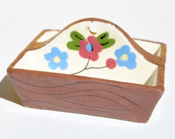 Vintage California Cleminson pottery miniature tote tray hand painted flowers wood grain tooth pick holder