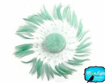 Rooster Feather Pad, 1 Piece - MINT GREEN whole Beaded Pinwheel Stripped Rooster Hackle Feather Plates : 3816