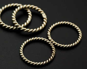 4 Handmade Twisted and Soldered Jump Rings 8 gauge 20mm ID - Brass, Bronze, Copper, Nickel Silver  - Raw or Hand Oxidized