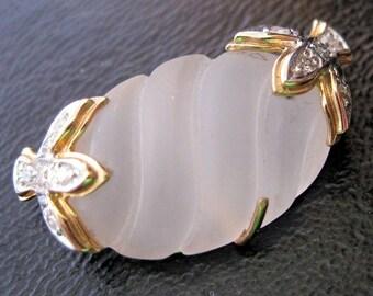 Vintage 14k YG Diamond Hand Cut Polished Frosted Quartz Crystal Dove Pendant & 1989 Appraisal Jewelry Jewellery