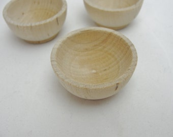 "1 1/2"" Miniature wooden bowl, small ring cup, unfinished DIY set of 3"