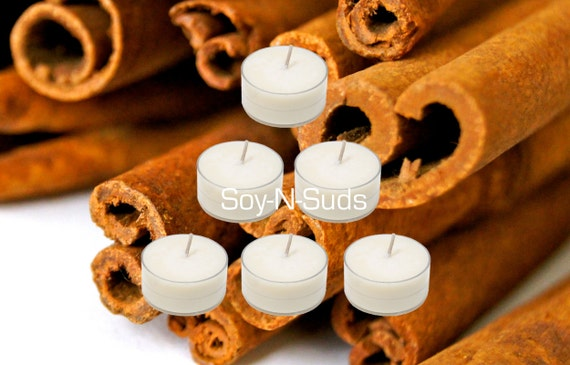 Soy Tea Lights, Soy Candles, Dye Free, T Lites, CINNAMON STICK, 6 Pack, White Candles, Tea Light Candles, CIJ, Cyber Monday, Black Friday