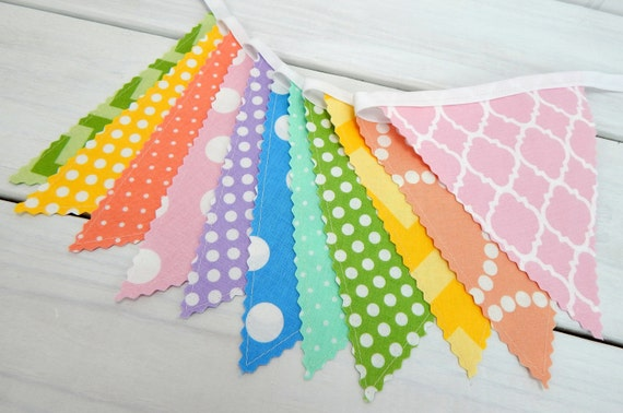 Bunting Banner, Flags, Nursery Decor, Photography Prop, Garland - Rainbow, Pink, Peach, Yellow, Blue, Purple, Mint, Dots, Chevron