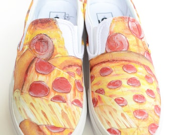 Custom Vans Shoes - Pizza Painting