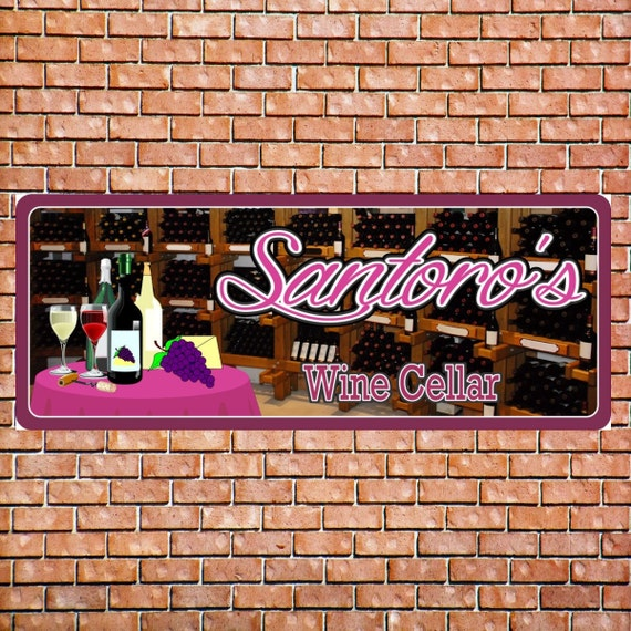 Wine cellar custom personalized bar sign with grapes wine for Custom wine bar