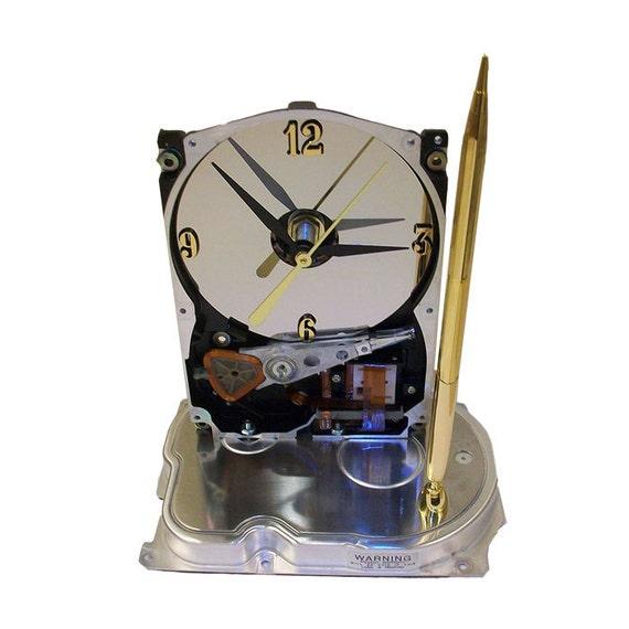 Pen Holder Hard Drive Clock Cool Office Gift Teacher By