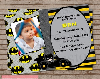 Bat Boy Birthday Photo Invitation