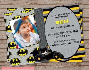 Batman Birthday Photo Invitation