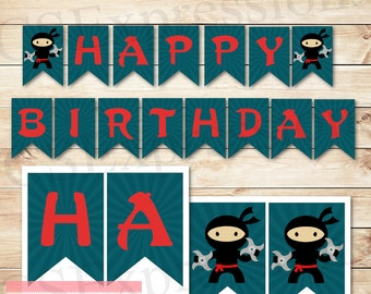 Blue Ninja Birthday Banner