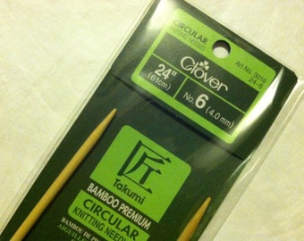 Clover Takumi Bamboo Premium Circular Knitting Needles Size 6 US (4mm) - 24-inch (61cm)