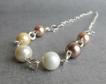 Brown White Beige Glass Pearl Necklace Silver, Sterling Silver Necklace, Convertible Necklace, Convertible Bracelet, Convertible Jewelry