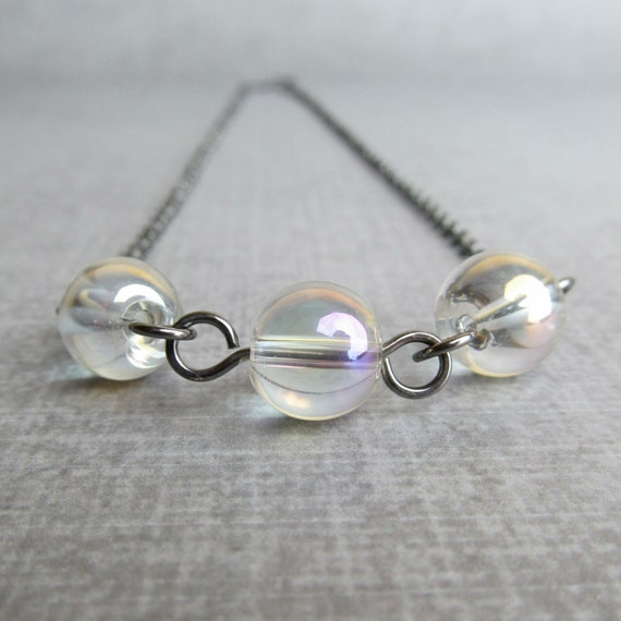 Clear Bubble Necklace, AB Clear Necklace, Clear Beaded Necklace, Oxidized Sterling Necklace