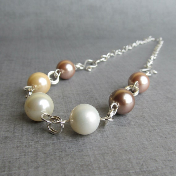 Glass Pearl Necklace, Convertible Necklace, Convertible Bracelet, Neutral Necklace, Convertible Jewelry