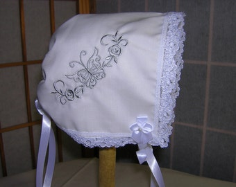 Baby Bonnet/Brides Wedding Handkerchief Handmade Keepsake Heirloom (Butterfly and Roses)