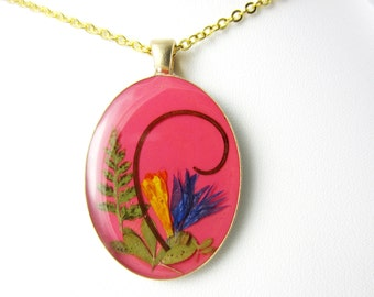 Nature's Grace, Pressed Flower Pendant, Real Natural  Flowers in resin  (1557)