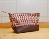 Cosmetic or Toiletry Bag in Red, Brown Plaid with Brown Faux Leather