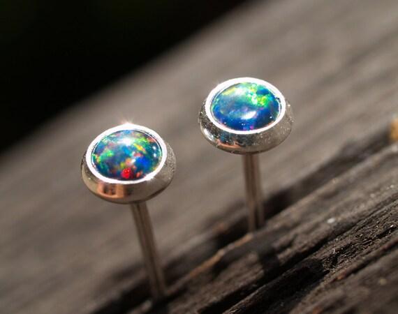 4mm lab created black opal ear studs