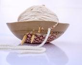 Large yarn bowl, handmade ceramic yarn bowl, yarn holder, knitter gift, Yarn supplies, rustic stars design