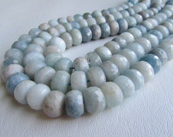 Aquamarine Beryl Large Faceted Rondelle Half Strand