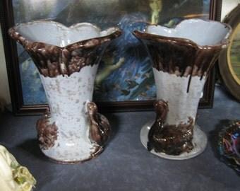Swan Vases, Vases with Swans, Vintage Blue Vases with Brown Swans, Blue Swan Vases, Brown Swan Vases