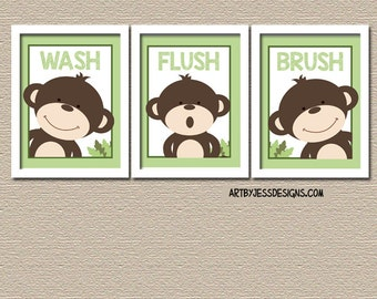 Monkey Bathroom Prints or Canvas, Wash, Flush, Brush Kids Bath Art