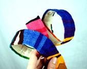 Vintage Leather Guatemalan Rainbow Woven Fabric Belt