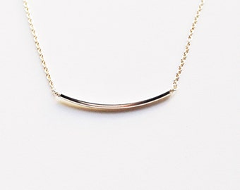 Sterling Silver Curved Bar Necklace - Weddings / Bridesmaid Gifts