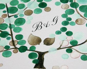 Custom Monogram Ketubah art print - Custom names Hebrew English bilingual text witness lines - Green Wrath Tree of Life with Love Birds