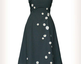 UPSY DAISY _ dress with white flowers, anthracite gray, daisies