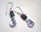 Sterling silver and tourmaline beaded earrings with metal charm