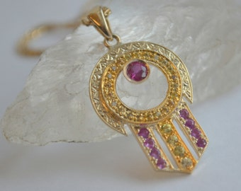 Art Deco Pendant in 14 K Yellow Gold with Rubies and Sapphires