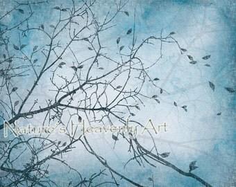 Aqua Blue Wall Decor, Tree Wall Art, Blue Home Decor, Nature Art Print, Turqouise Blue, Blowing Leaves, Tree Art (259)