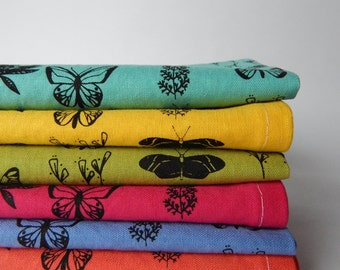 Cloth Napkins, Hand Printed Butterfly Floral, Spring Green, Set of 6, RESERVED for berkeleyfam