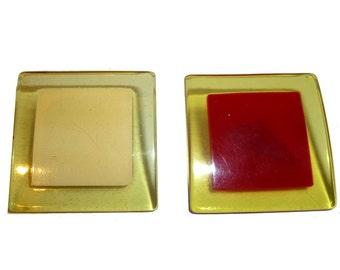 Pair of Applejuice Bakelite Laminated Pins. Red and Cream Bakelite. 1940s.